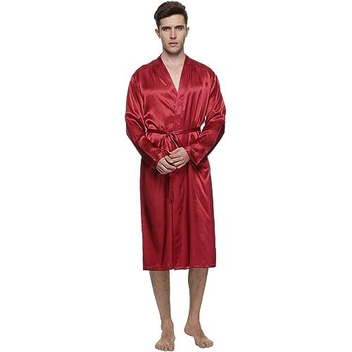987ad8ba8a FAYBOX Men Satin Robe Long Bathrobe Lightweight Sleepwear