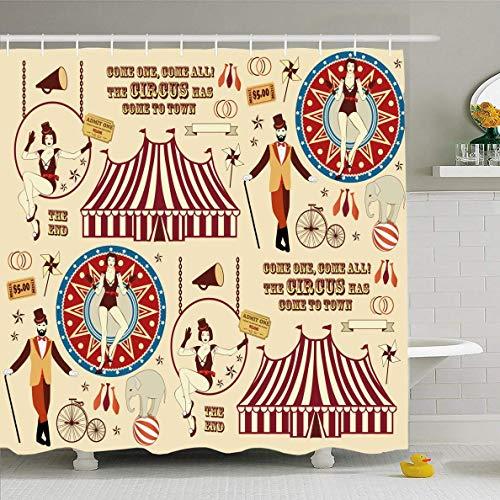 N/A Douche Gordijn 72x72 inch Kostuum Vintage Patroon Circus Abstract Ticket Bullhorn Hoop Trapeze Acrobat Acrobatics Ontwerp Waterdichte Polyester Stof Badkamer Gordijnen Set met Haken