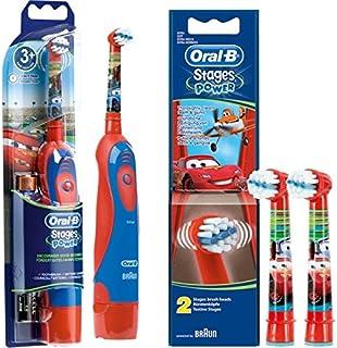 SPAR-SET: 1 Braun Oral-B Stages Power Kids cls Batterie-Zahnbürste Kinder DB4.510.K Disney CARS + 2er Stages Power Aufstec...