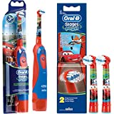 Set de ahorro: 1 Cepillo de dientes eléctrico Braun Oral-B Stages Power Kids DB4.510.K, para niños de Disney Cars + 2 cabezales Stages Power de Cars