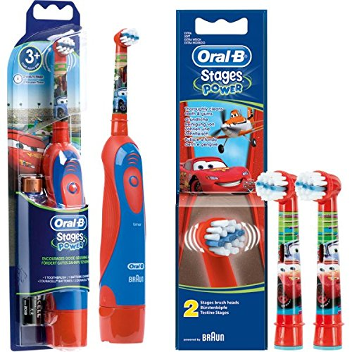 SPAR-SET: 1 Braun Oral-B Stages Power Kids cls Batterie-Zahnbürste Kinder DB4.510.K Disney CARS + 2er Stages Power Aufsteckbürsten CARS