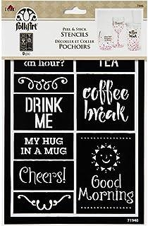 "FolkArt 71946 Peel and Stick Stencil, 5"" x 8"", Hug in A Mug"