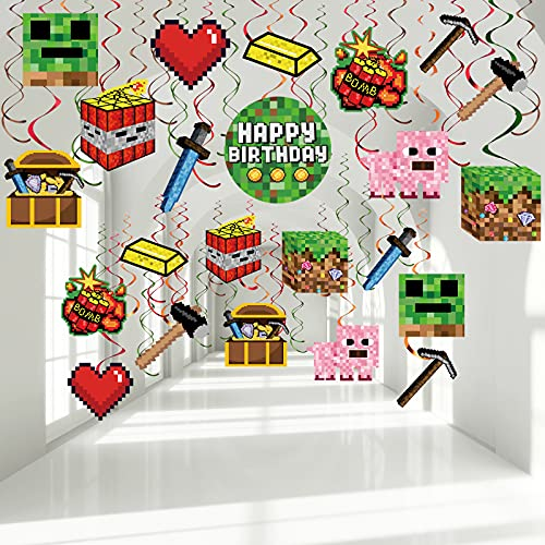 30 Pieces Pixel Hanging Swirls Decorations Pixelated Party Decor Pixelated Party Photo Props Pixelated Birthday Party Decor for Teens Adults Pixelated Theme Party Favors Video Game Party Decors