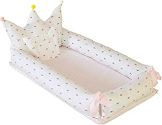 Abreeze Baby Bassinet for Bed -Flamingo-White Baby Lounger - Breathable & Hypoallergenic Co-Sleeping Baby Bed - 100% Cotton Portable Crib for Bedroom/Travel