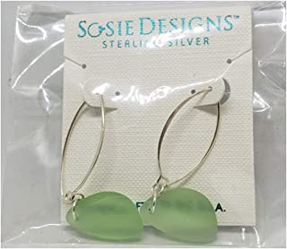 Sosie Designs Jewelry Cultured Sea Glass Marquis Sea Pebble Earrings, Peridot