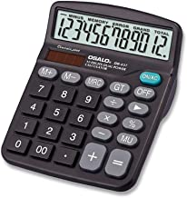 $26 » TJSM Financial Accounting Office Calculator, 12-Digit Solar Battery Basic Calculator, Solar Dual Power Office Calculator with Large LCD Display