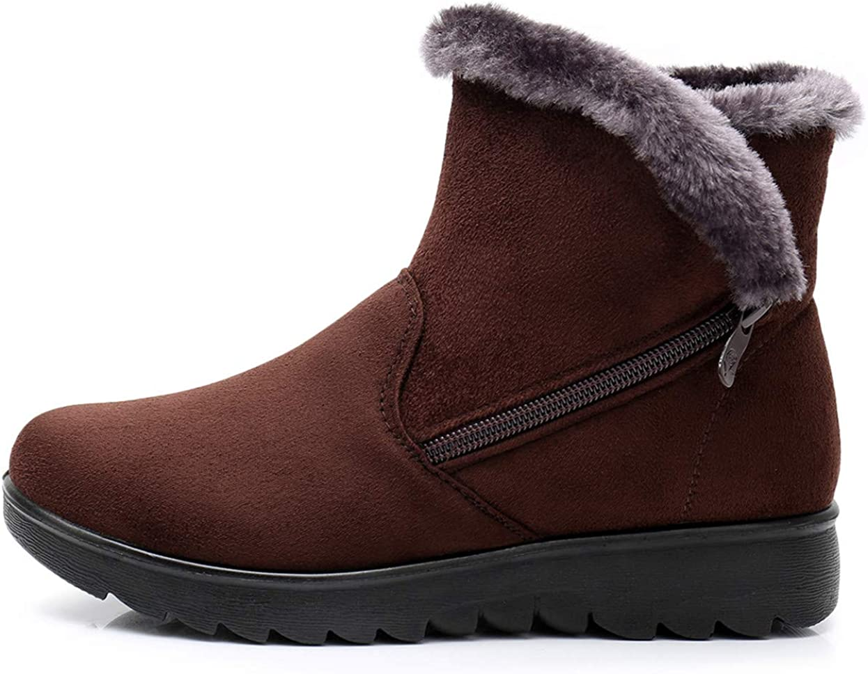 DADAWEN Womens Winter Warm Side Zipper Snow Boots