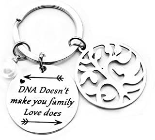 Father's Day Gifts Step Parent Keychain Gift DNA Doesn't Make You Family Love Does Keychain Ring Christmas Birthday Gifts for Dad Daddy Grandpa Papa Mom Uncle Brother