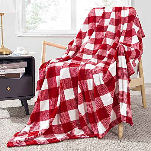 Topfinel Buffalo Check Plaid Throw Blanket Red and White Decor 50 x 60 inch Flannel Couch Blanket