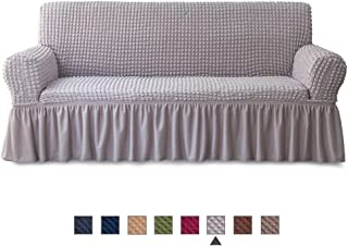 NICEEC Sofa Slipcover Grey Sofa Cover 1 Piece Easy Fitted Sofa Couch Cover Universal High Stretchable Durable Furniture Protector with Skirt Country Style (3 Seater Gray)