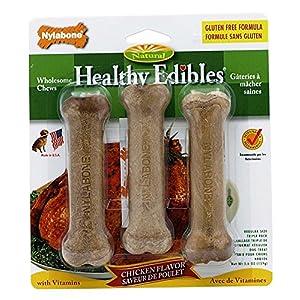 Nylabone Healthy Edibles Dog Chew Treats Chicken, Petite, 8 Count & Nylabone Healthy Edibles Dog Treat Biscuits Peanut Butter & Apple Bundle