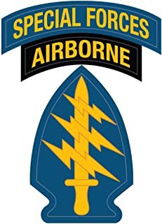 US Army - Special Forces Airborne Patch Reflective Decal - 3.5 Inch Tall Full Color Decal On 3M Reflective Material, Sticker