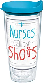 Tervis 1207494 Nurses Call The Shots Tumbler with Wrap and Turquoise Lid 24oz, Clear