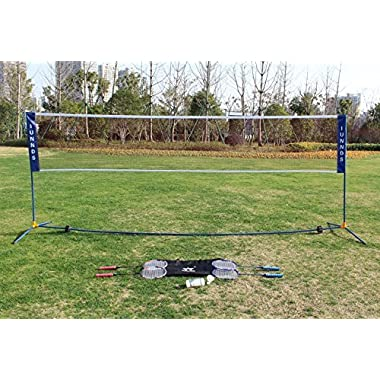 Sports God Height Adjustable Portable Large Volleyball Badminton Tennis Net Set with Stand/Frame (14 ft)