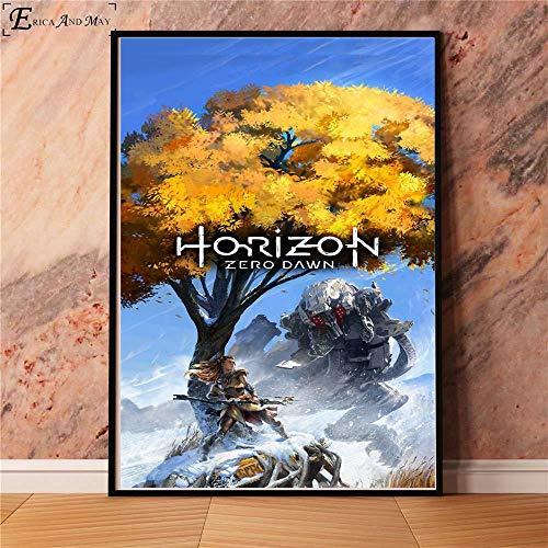 hetingyue Juego de Arte Horizon Zero Dawn sin Marco Carteles e Impresiones Murales Pinturas Decorativas 40x60cm