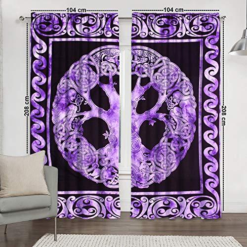 Sophia-Art Window Panel Balcony Tree of Life Set Room Decor Curtain Drape & Tapestry Curtains Valance Dorm Boho Hippie Indian Curtain Set (Purple Celtic Tree)