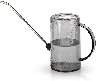 Watering Can, ELECDON Plastic Watering Can Semi-Clear Cylindrical Watering Pot with Tick Marks and Stainless Steel Long Sp...