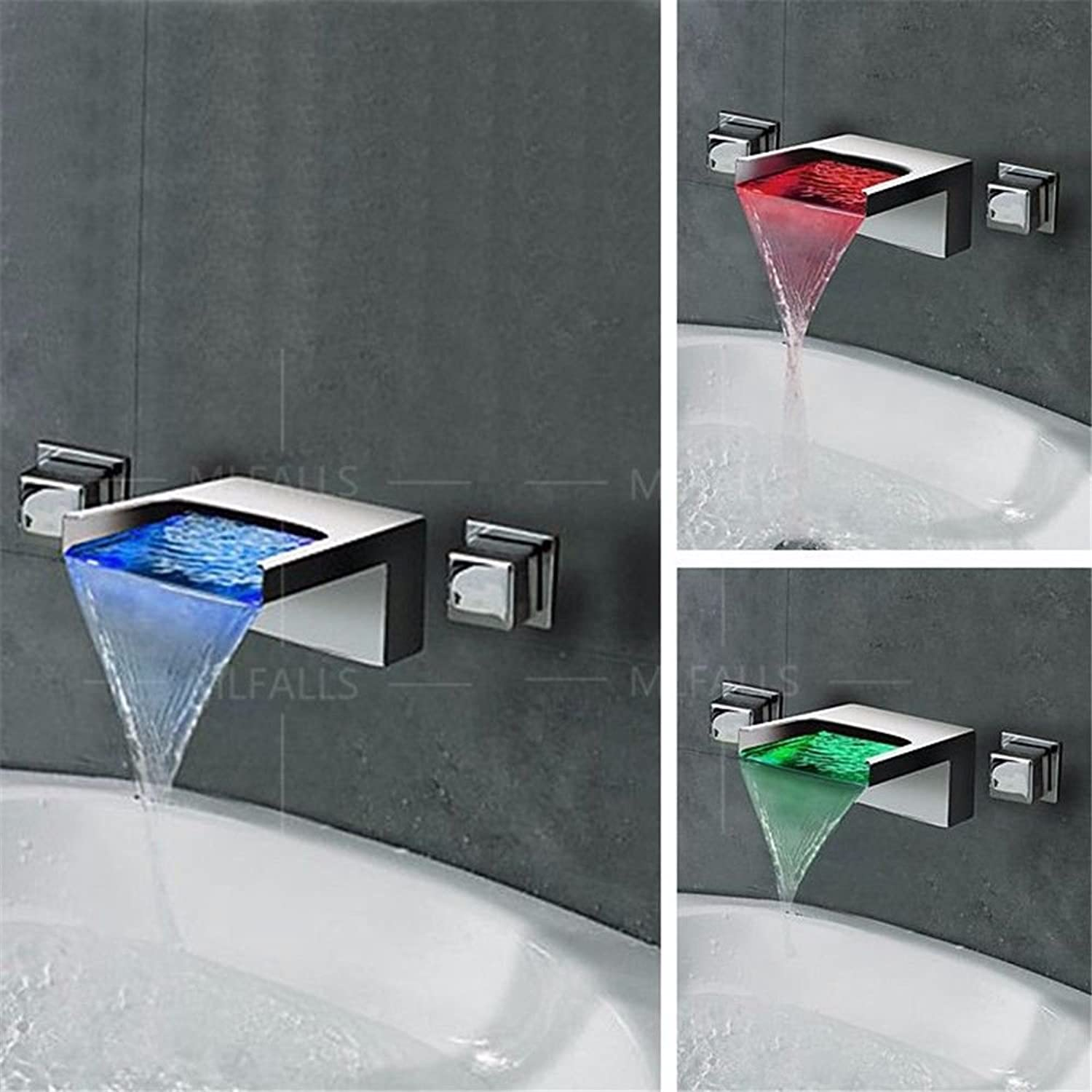 Lalaky Taps Faucet Kitchen Mixer Sink Waterfall Bathroom Mixer Basin Mixer Tap for Kitchen Bathroom and Washroom Led Waterfall Hot and Cold Double Handle Into The Wall Tail Single