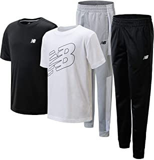 New Balance Boys' Active Jogger Set - 4 Piece Short Sleeve Performance T-Shirt and Tricot Sweatpants Set (Little Kid/Big K...