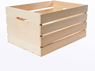 """18"""" x 12.5"""" x 9.5"""" Large Unfinished Pine Wood Crate (3-Pack)"""