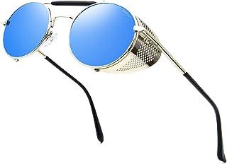 ANDOILT Lunettes de soleil rondes style steampunk pour homme et femme - Monture en matel - Protection UV400