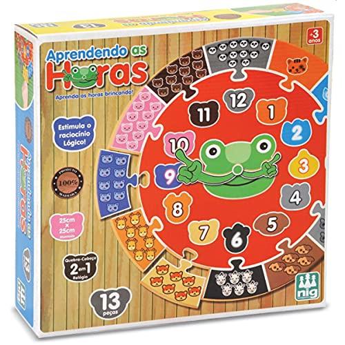 Brinquedo Educativo, Aprendendo as Horas, Nig, 13 Peças em Madeira