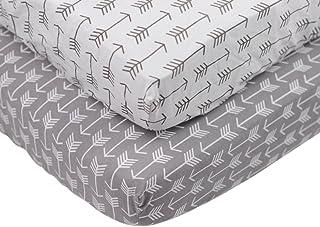 Jersey Cotton Crib Sheet Fitted Cotton 2 Pack Set White Grey Arrow Print – Standard Crib Mattress Size – Toddler, Kids Bed...