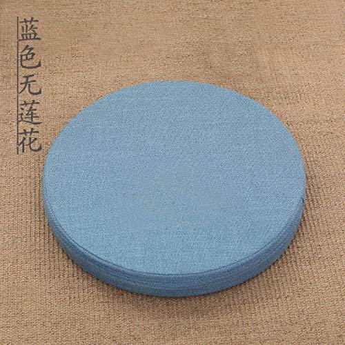 FKIHK SitzkissenNeu eingetroffen Leinen Lotus Futon Kissen Meditation Verdickung Kreis japanischen Stil große Bodenkissen Futons Sitz Tatami, Sky Blue, 40x40x6cm