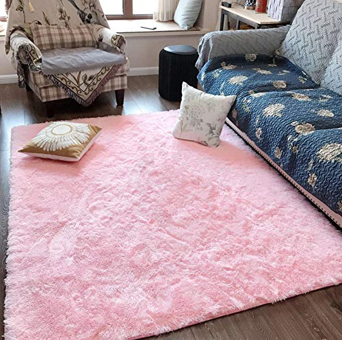 ST. BRIDGE Fluffy Soft Kids Room Rug Baby Nursery Decor, Anti-Skid Large Fuzzy Shag Fur Area Rugs, Modern Indoor Home Living Room Floor Carpet for Children Boys Girls Bedroom Rugs, Pink 5 x 8 Feet