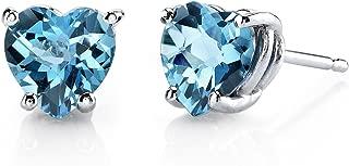 14 Karat White Gold Heart Shape 1.75 Carats Swiss Blue Topaz Stud Earrings