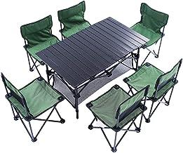 DX Opvouwbare campingtafel, Buiten en stoelen zevendelige aluminium opklapbare picknicktafel, sterke lading, opvouwbaar me...