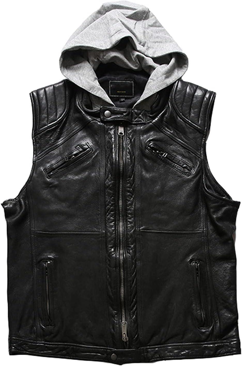 WMJL Genuine Lambskin Leather Men's Japanese Retro Hunt Black Classic Fashion Biker Vest Jacket with Removable Hood,Black,M