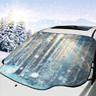 Frosty Winter Landscape Car Windshield Snow Cover,Waterproof Frost Guard Winter Windshield Snow Ice Cover with Side Mirror Covers,Windproof Summer Windshield Sun Shade Fits Most Cars,SUVs,Minivans 58