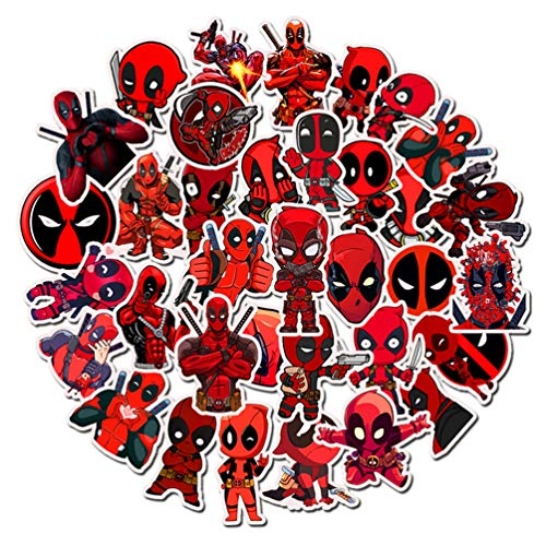 Wade Winston Wilson Laptop Stickers 35pcs, Cool Vinyl Computer Waterproof Water Bottles Skateboard Luggage Decal Graffiti Patches Decal (Deadpool)