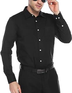 Sykooria Mens Shirts Long Sleeve Plain Solid/Checked Shirt Dress Casual Cotton Button Down Shirts Tops S-XXL