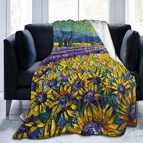 Qing_II - Manta de forro polar con diseño de girasoles y campo de lavanda de los colores de la provenza, moderno, impresionista, paleta de cuchillos, pintura de franela, manta suave y cálida para invierno, 50 x 65 pulgadas, para cama, sillón, oficina