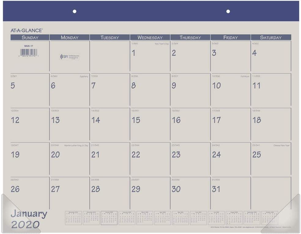 Fashion Blue SK25-17 AT-A-GLANCE Desk Pad Calendar 2017 21-3//4 x 17