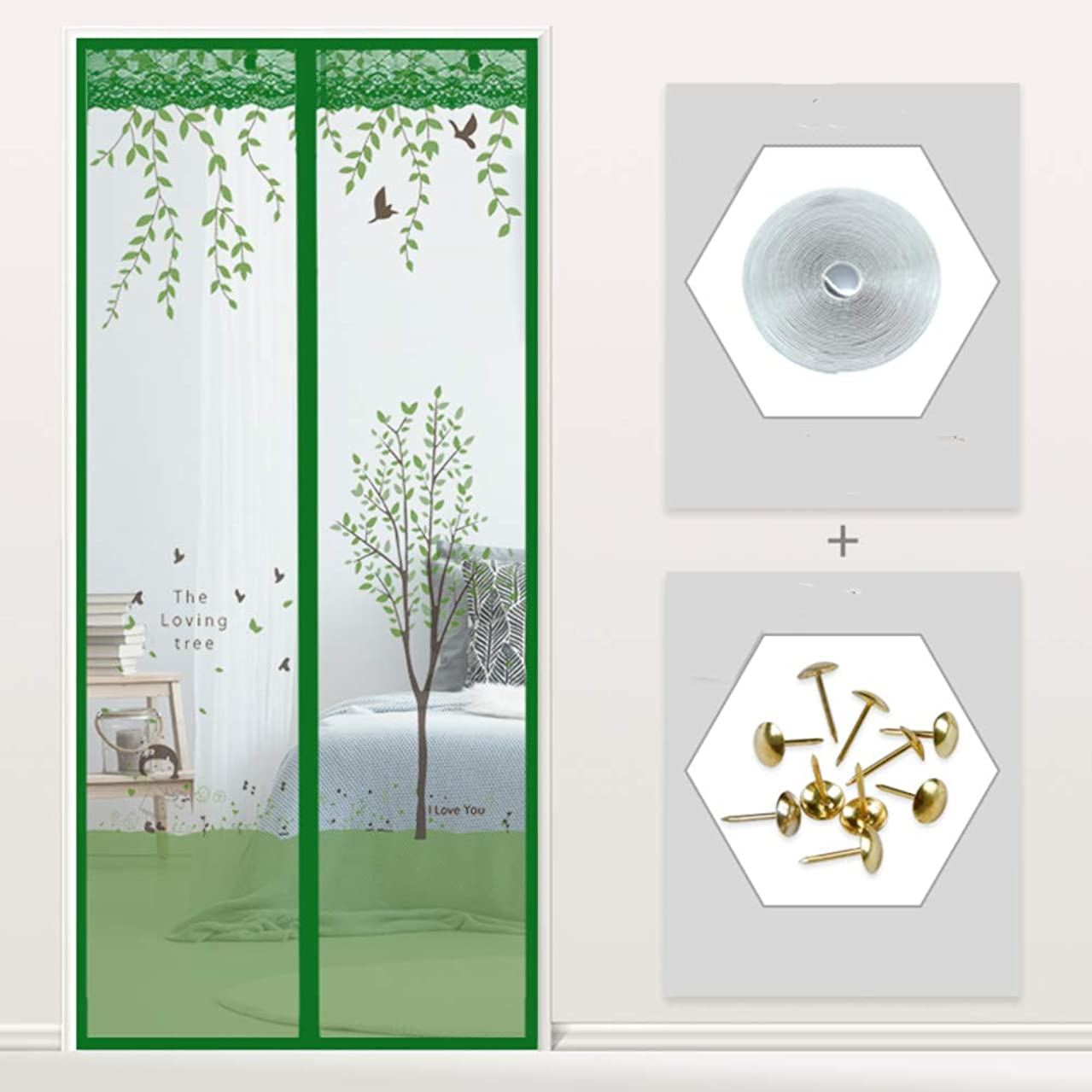MIYAMA Screen Door,Magnetic Mesh Curtain with Magic Tape and Push pins,Soft Multi Size Door Curtain,Bug Screen-C 85x220cm(33x87inch)