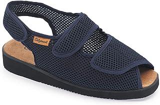 Calzamedi, damesschoenen uit de Comfort-lijn van Calzamedi, breedte 15 cm, hoogte 2 cm, comfortabele stof, kleur marinebla...