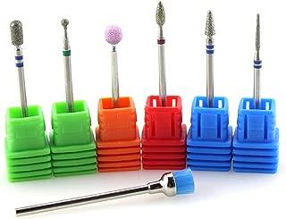 NMKL38 7PCS Electric Nail Drill Bit Set,  Diamond Burrs Rotary Cleaning Brush Stone File Nail Drill Machine Accessories for Salon Manicure Pedicure