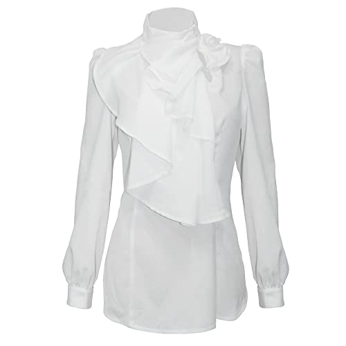 12ef1db0dcf Firpearl Women s Vintage Ruffle Long Sleeve Shirt Blouse Tops XL White