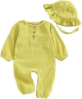 Weixinbuy Baby Boys Girls Romper Sleepwear Pyjama Solid Color Long Sleeve One Piece Bodysuit with Hat Outfit Set