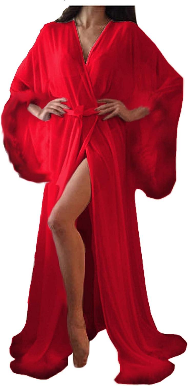 Homebed Sexy Fur Long Lingerie Robe Nightgown Bathrobe Sleepwear Feather Bridal Robe Wedding Scarf