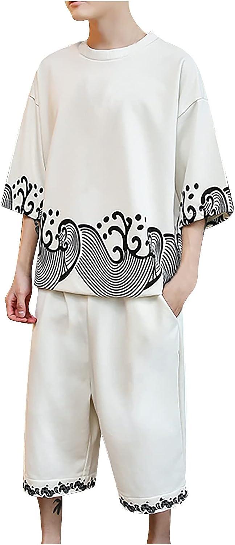 Men Casual 2 Piece Outfits Half Sleeve Crew Neck Cotton Linen Shirt Shorts Sets Fashion Retro Print Tracksuit Loose Set