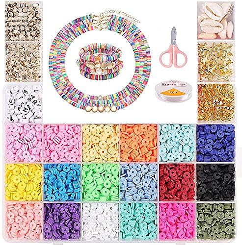 Cozywind Espaciadores de Arcilla, Cuentas Coloridas Abalorios, Cuentas Planas para Bisutería Collar Pendientes Pulseras para Niños y Adultas (6 mm, 18 colores)