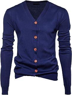 Men Sweater Men Cardigans Lightweight Men's Cardigans V Neck Long Sleeve Button Men Tops Boutique Knitting Pure Color Simp...