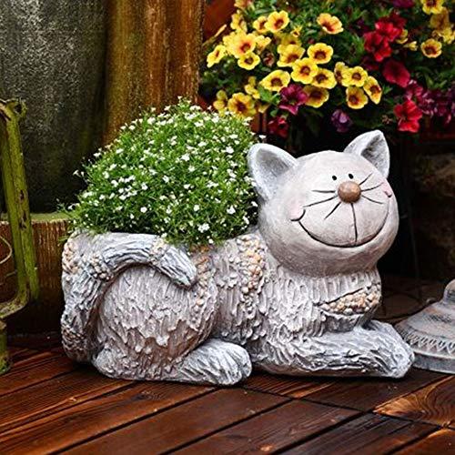 Rishx Regalos del Gato Lindo Tiesto Planter Pot Balcón Grande Tiesto Animal Decorativo Ollas jardín de macetas y jardineras jardinería Adornos