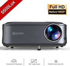 $249 » Video Projector, GuDee 5500 Lux Native 1080P Full HD HDMI Office Projector for Laptop Business PowerPoint Presentation and Home Theater, Compatible with iPhone/Android/USB/HDMI