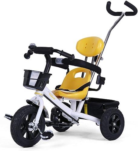 CFHJN Home Kinderwagen-Baby-Trolley Nicht aufblasbare Gummi-Titium-leeres Rad verstellbare Schubstange Fahrrad