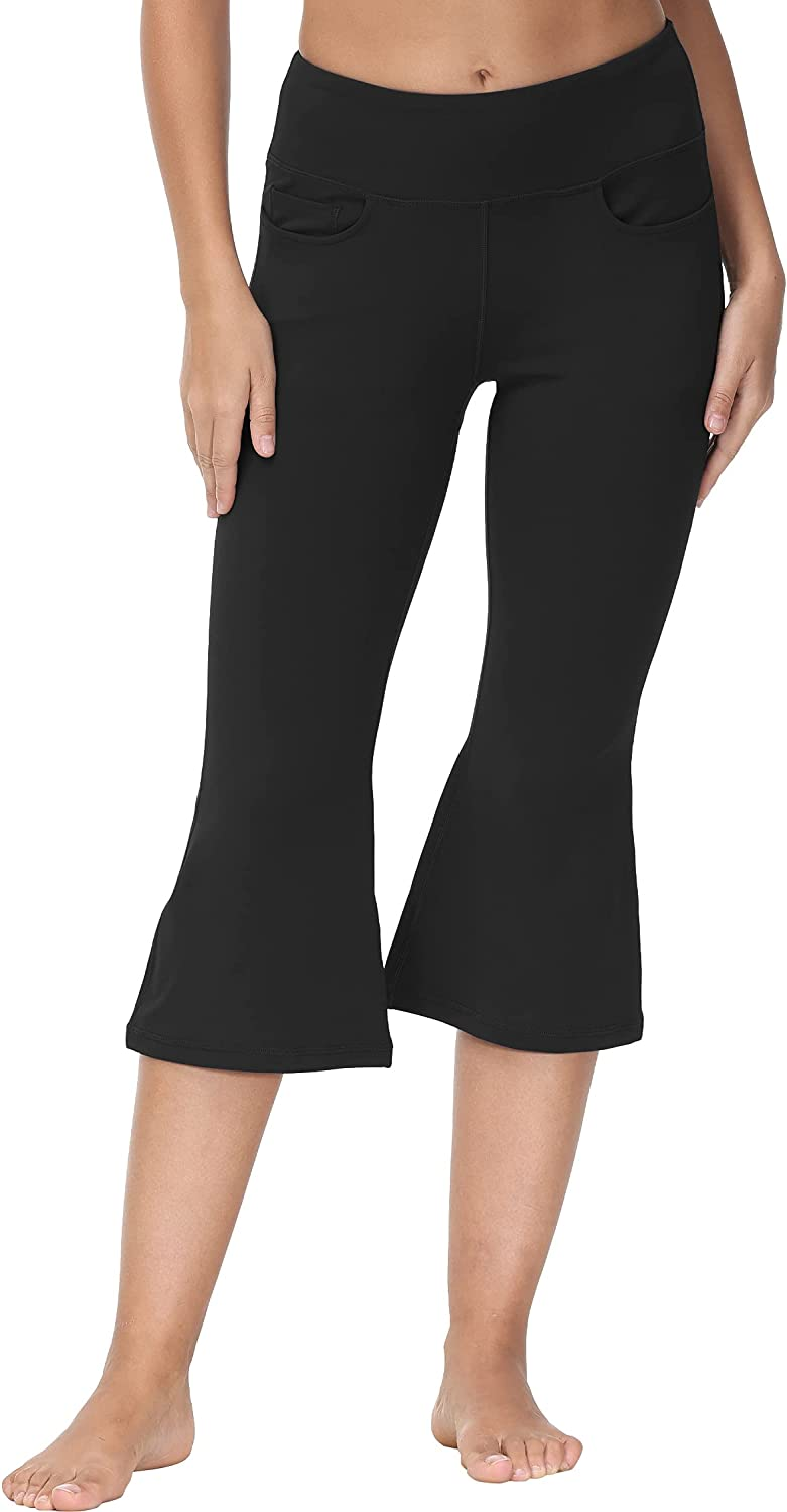 Cakulo Women's Ranking integrated 1st place Yoga Department store Kick Flare Capris Pants Lo Crop Pockets with